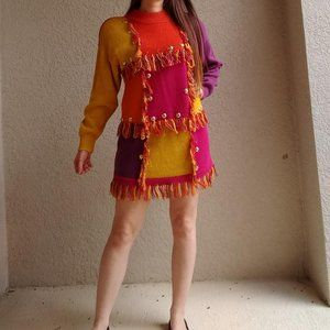 Vintage 1992 Colorblock Fringed Sweater Dress